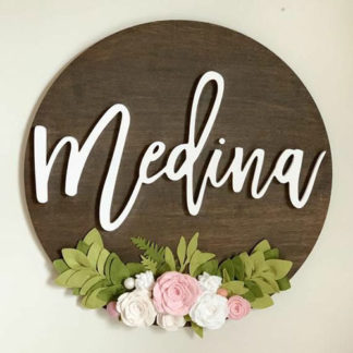 Felt Floral Name Sign Wall decor for babies nursery