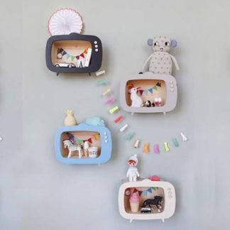 Wooden TV box wall decor for baby nursery