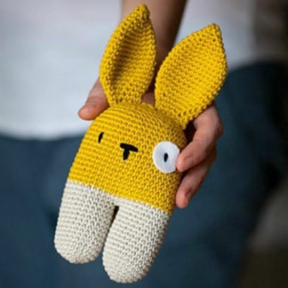 Knitted baby toy - bunny rattle