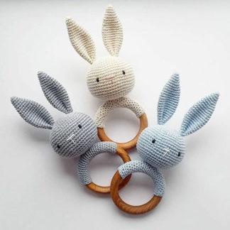 Bunny teether teething ring for babies