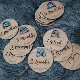 Milestone signs for babies - made from wood with rainbow design