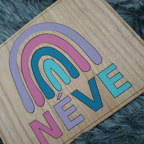 Name & Rainbow Puzzle Wooden Toy For Babies - Wonderlik