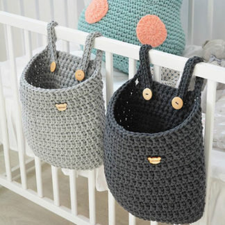 Crochet cot storage bags for babies nursery