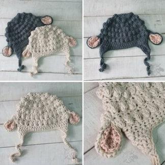 Baby beanie - Little lamb theme. Warm soft and handmade