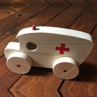 Ambulance wooden toy for babies to play with