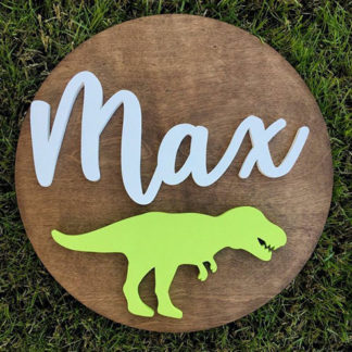 T-Rex Name Sign Board for babies