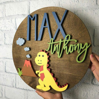 Dinosaur Name Sign Board for babies with personalized name