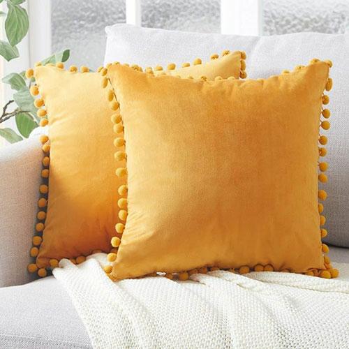 Pom Pom Velvet Cushions