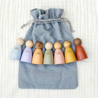 Rainbow peg dolls made from wood for you baby to play with